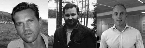 Fr. v: Robert Käck, Jerry Silfwer och Fredrik Johansson
